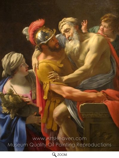 Simon Vouet, Aeneas and His Father Fleeing Troy oil painting reproduction