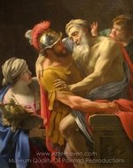 Aeneas and His Father Fleeing Troy painting reproduction, Simon Vouet