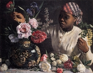 African Woman with Peonies painting reproduction, Jean Frederic Bazille