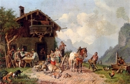 After the Hunt painting reproduction, Burkel Heinrich