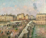 Afternoon Sunshine, Pont Neuf painting reproduction, Camille Pissarro