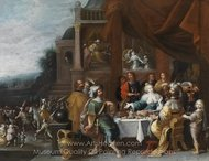 Ahasver and Haman at the Banquet of Esther painting reproduction, Frans Francken