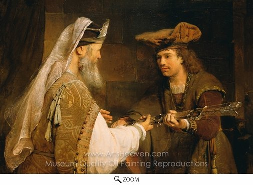 Aert De Gelder, Ahimelech Giving the Sword of Goliath to David oil painting reproduction
