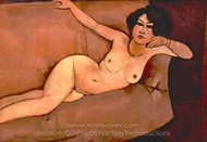 Akt auf Sofa (Almaiisa) painting reproduction, Amedeo Modigliani