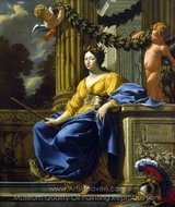 Allegorical Portrait of Anna of Austria as Minerva painting reproduction, Simon Vouet