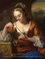 Allegory of Virtue and Riches painting reproduction, Godfried Schalcken