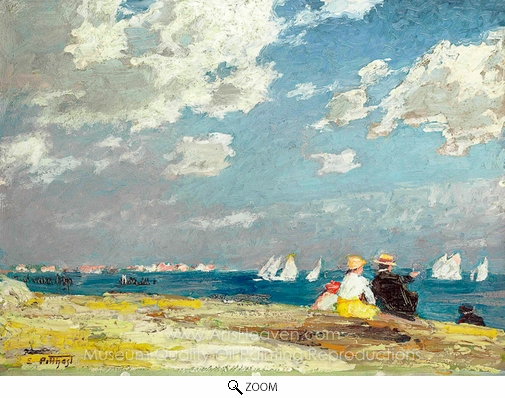 Edward Henry Potthast, Along the Shore oil painting reproduction
