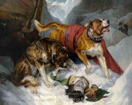 Alpine Mastiffs Reanimating a Distressed Traveller painting reproduction, Sir Edwin Landseer