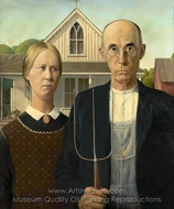 American Gothic painting reproduction, Grant Wood