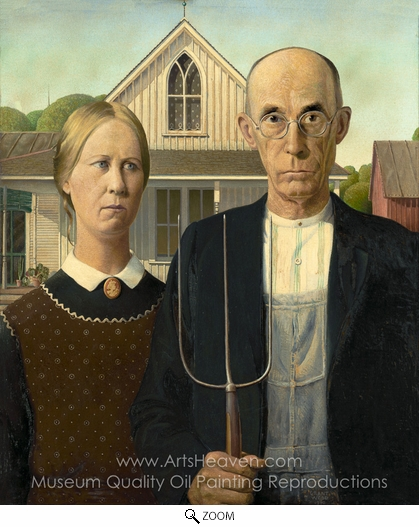 Grant Wood, American Gothic oil painting reproduction