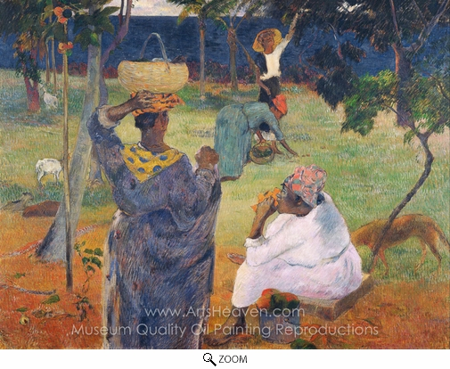 Paul Gauguin, Among the Mangoes at Martinique oil painting reproduction