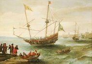 An Algerine Ship off a Barbary Port painting reproduction, Andries Van Eertvelt