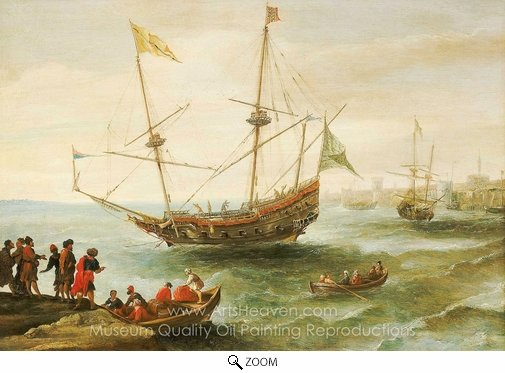 Andries Van Eertvelt, An Algerine Ship off a Barbary Port oil painting reproduction