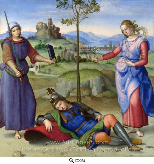 Raphael Sanzio, An Allegory (Vision of a Knight) oil painting reproduction
