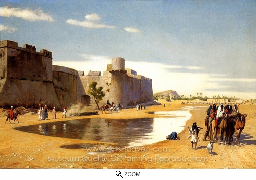 Jean-Leon Gerome, An Arab Caravan Outside a Fortified Town, Egypt oil painting reproduction
