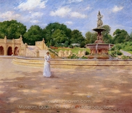 An Early Stroll in the Park painting reproduction, William Merritt Chase
