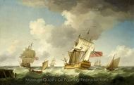 An East Indiaman in a Fresh Breeze painting reproduction, Charles Brooking
