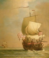 An English East indiaman, Bow View painting reproduction, Peter Monamy
