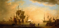 An English Flagship and Other Vessels Becalmed at Sun Down painting reproduction, Peter Monamy