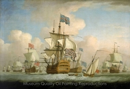 An English Fleet Coming to Anchor painting reproduction, Peter Monamy
