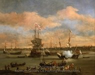 An English Merchant Ship in a Mediterranean Harbour in a Light Breeze with Many Other Vessels painting reproduction, Willem Van De Velde