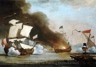 An English Ship in Action with Barbary Corsairs painting reproduction, Willem Van De Velde