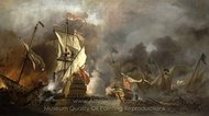 An English Ship in Action with Barbary Vessels painting reproduction, Willem Van De Velde