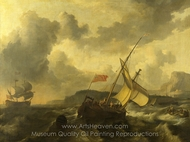An English Vessel and a Man-of-War in a Rough Sea painting reproduction, Ludolf Backhuysen