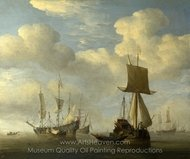 An English Vessel and Dutch Ships Becalmed painting reproduction, Willem Van De Velde, The Elder