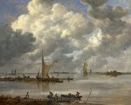 An Estuary with Fishing Boats and Two Frigates painting reproduction, Jan Van Goyen