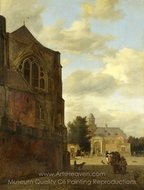 An Imaginary View of Nijenrode Castle painting reproduction, Jan Van Der Heyden