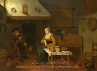 An Interior, with a Man and a Woman Seated by a Fire painting reproduction, Quirijn Van Brekelenkam
