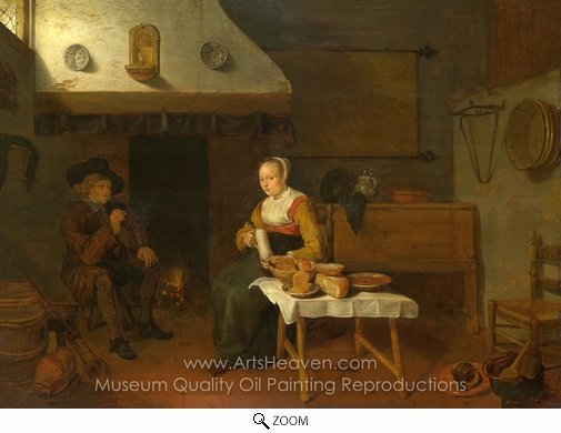 Quirijn Van Brekelenkam, An Interior, with a Man and a Woman Seated by a Fire oil painting reproduction