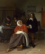 An Interior with a Man Offering an Oyster to a Woman painting reproduction, Jan Steen