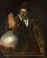 An Old Man Holding a Pilgrim-Bottle painting reproduction, Italian Painter