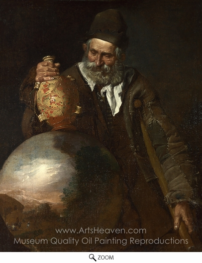 Italian Painter, An Old Man Holding a Pilgrim-Bottle oil painting reproduction