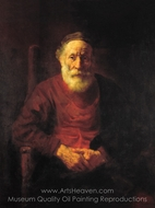 An Old Man in Red painting reproduction, Rembrandt Van Rijn