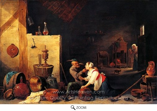 David Teniers, An Old Peasant Caresses a Kitchen Maid in a Stable oil painting reproduction
