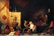 An Old Peasant Caresses a Kitchen Maid in a Stable painting reproduction, David Teniers
