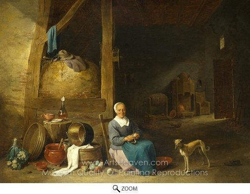 David Teniers, An Old Woman Peeling Pears oil painting reproduction