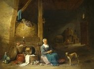 An Old Woman Peeling Pears painting reproduction, David Teniers