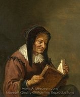 An Old Woman Reading painting reproduction, David Teniers