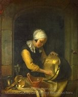 An Old Woman Scouring a Pot painting reproduction, Godfried Schalcken