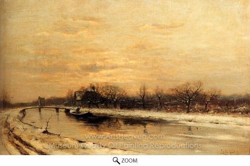 Louis Apol, An Orchard Alongside a Canal with a Farmhouse in the Distance at Dusk oil painting reproduction