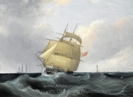 An Outward-Bound Frigate Running Past the Eddystone Lighthouse painting reproduction, John Lynn