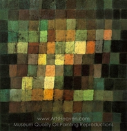 Ancient Sound Abstract on Black painting reproduction, Paul Klee