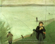 Anglers on the Rhine painting reproduction, August Macke