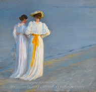 Anna Ancher and Marie Kroyer on the Beach at Skagen painting reproduction, Peder Severin Kroyer