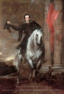 Anton Giulio Brignole-Sale on Horseback painting reproduction, Sir Anthony Van Dyck