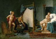 Apelles Painting Campaspe in the Presence of Alexander the Great painting reproduction, Jacques-Louis David